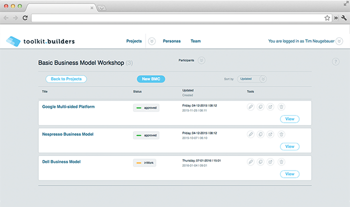 Screenshot Startseite des Business Model Toolkits